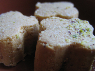 rosewater pistachio chickpea cookies from Shirini Sara
